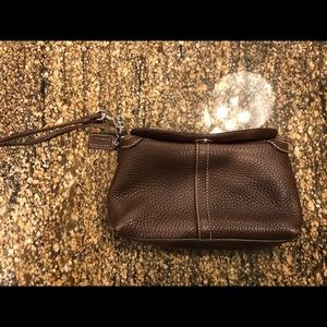 Authentic Leather Coach Wristlet-Brown
